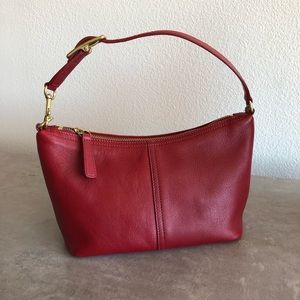 Coach Red Leather Legacy Bucket Mini Hand Bag